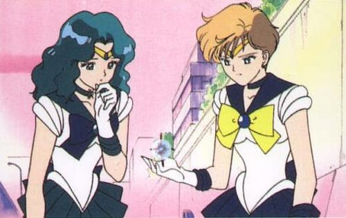 Sailor Uranus and Neptune Investigating a Heart Crystal