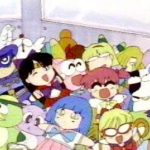 Gyopi and Wapiko next to Sailor Mars and Sailor V