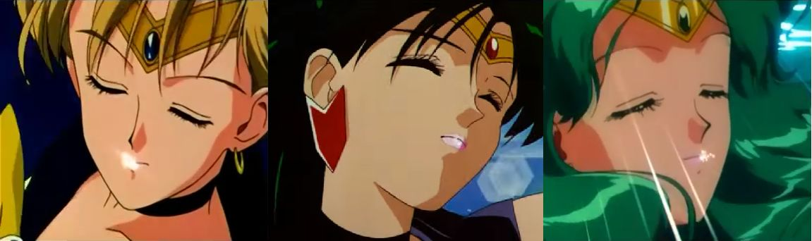 The Outer Senshi Applying Lipstick