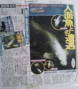 Human Faced Fish article (June 1990, Tokyo Sports newspaper)