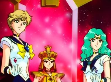Sailor Uranus and Neptune giving surrendering their Star Seeds to Galaxia