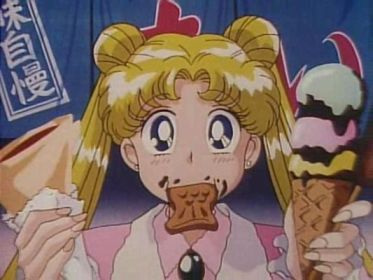 Usagi doing what she does best... eating!