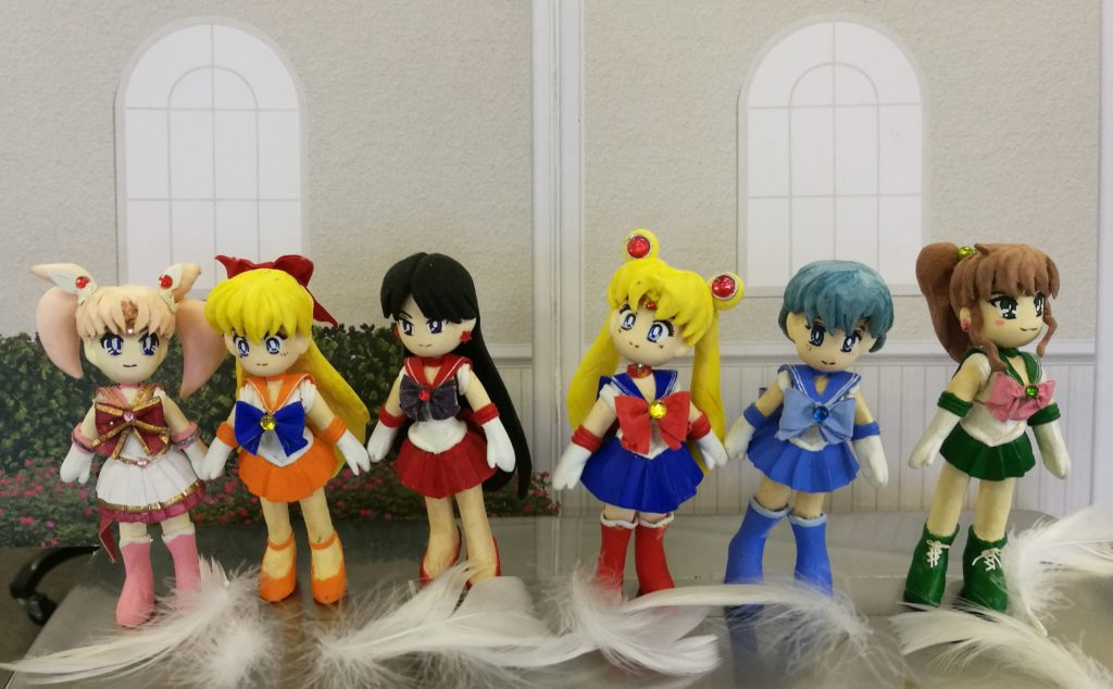 Some handmade Sailor Moon dolls made by a passionate fan