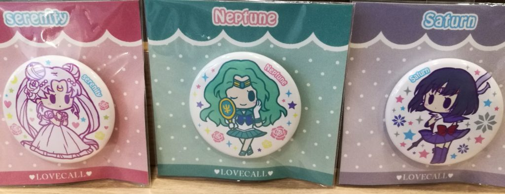 Serenity, Sailor Neptune, and Sailor Saturn, in pin form