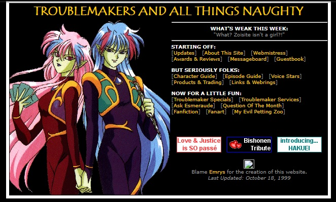 """Troublemakers and All Things Naughty"" -- a fan page devoted to Sailor Moon villains"